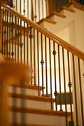 wood stairs - artistic photography of the stairs. - stock photo