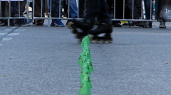 Slow Motion Street Life open air street festival Roller Skating Munich Germany  Stock Footage