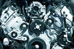 powerful gasoline engine closeup - stock photo