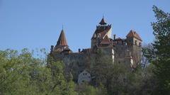 Dracula Castle National Ancient Monument in Romania, Visit Vlad Impaler Landmark Stock Footage