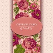 Elegance Vintage Floral Card with Roses Stock Illustration