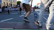 Stock Video Footage of Street Life open air street festival Skate Board Munich Germany Europe