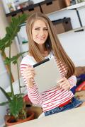 Stock Photo of lifestyle. attractive girl with tablet