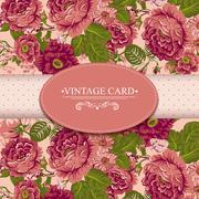 Elegance Vintage Floral Card with Roses - stock illustration