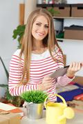 lifestyle. attractive girl with tablet - stock photo