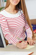 Lifestyle. attractive girl at work Stock Photos