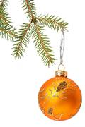 christmas tree and bauble. isolated on white - stock photo