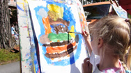 Stock Video Footage of Munich 2014 Street Life open air street festival Kid painting Germany Europe