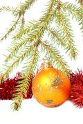 christmas tree, bauble and tinsel. isolated on white - stock photo