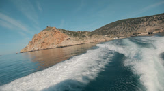 View of pictoresque landscapes from the deck of the yacht Sevastopol, Crimea, Stock Footage