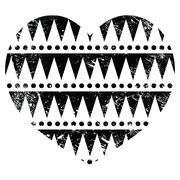 Aztec tribal pattern heart - retro, grunge style Stock Illustration