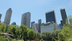 New York City Central Park and Manhattan buildings Stock Footage