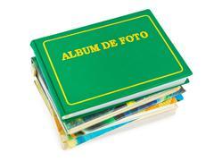 Stack of photo albums Stock Photos