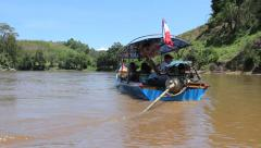 Long Tail Boat In Northern Thailand River Stock Footage