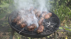 Grill 002 hdPicnic outdoor garden pork food grilled grill meat ball cuisine day Stock Footage