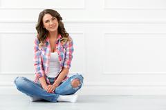 Lifestyle. beautiful girl in jeans Kuvituskuvat