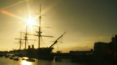 Historic HMS Warrior - golden light - slow motion Stock Footage