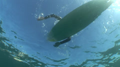 Surfer on surfboard paddling overhead #24-13 Stock Footage