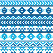 Aztec tribal seamless blue and navy pattern - stock illustration