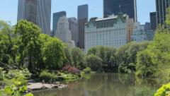 New York City Central Park and Manhattan buildings - stock footage