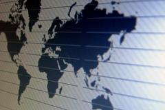 world map macro on tft screen - stock photo