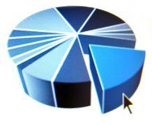 pie chart with black arrow - stock illustration