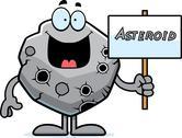 Cartoon asteroid sign Stock Illustration