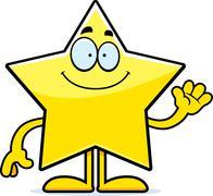Cartoon star waving Stock Illustration