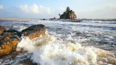 Tropical beach at Kemasik Beach, Terengganu, Malaysia Stock Footage