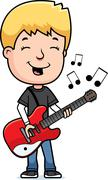 Teen boy guitar Stock Illustration