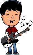 Stock Illustration of teen boy guitar