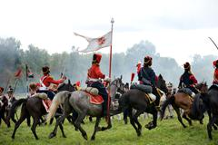 Russian and French armies in 1812 close up - stock photo