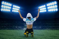 Argentine player celebrate winning  Stock Photos