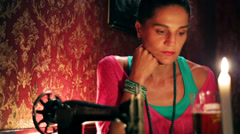 Angry woman waiting for someone in a pub, steadycam shot - stock footage