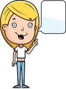 talking teen girl - stock illustration