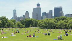 New York City Central Park Sheep Meadow picnic sun bathing people - stock footage