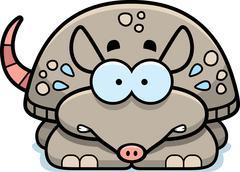 nervous little armadillo - stock illustration