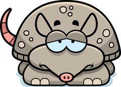sad little armadillo - stock illustration