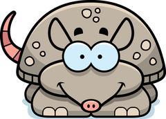 smiling little armadillo - stock illustration