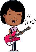 teen girl guitar - stock illustration