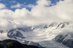franz joseph glacier from the air - stock photo