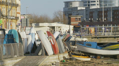 Working boat yard in Portsmouth Stock Footage