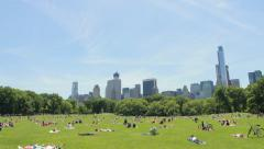 New York City Central Park Sheep Meadow picnic sun bathing people Stock Footage
