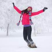 winter women jump - stock photo