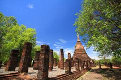 Sukhothai landmark, elephant statues attached on ancient pagoda Stock Photos