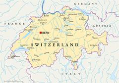 Sveitsi poliittinen kartta Piirros
