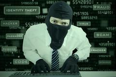 businessman wearing mask stealing data - stock illustration