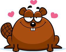 Little beaver in love Stock Illustration