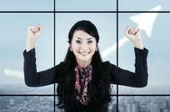Stock Illustration of businesswoman celebrating her accomplishment