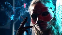 Carnival in nightclub. Mask, costume, suit - stock footage